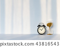 Clock with hourglass on white background 43816543