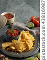 Nachos with red hot spicy salsa  43816987