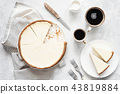 Classical New York Cheesecake And Coffee, Top View 43819884