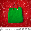 Plasticine figure of green shopping bag 43822378