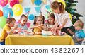 children's birthday. happy kids with cake 43822674