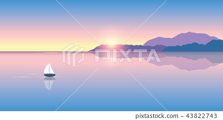 lonely sailboat on a calm sea at sunrise 43822743
