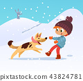 Cute smiling little boy playing with the dog at the neighborhood in winter. Boy and his friend dog 43824781