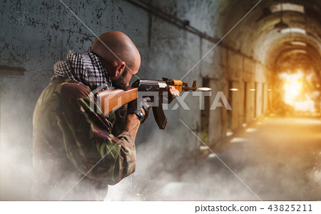 Terrorist shoots from rifle, explosion in corridor 43825211