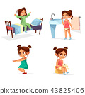 Girl kid morning illustration of cartoon child daily routine activity waking up, washing and 43825406