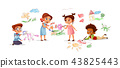 Children drawing pencil picture illustration 43825443
