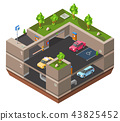 Parking lot isometric 3D illustration for construction design of cars, parkomat checkpoint and 43825452