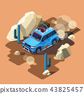 isometric safari car desert landscape 43825457