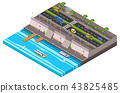 Riverside city isometric 3D illustration of waterfront town map with cars and river ferry boat pier 43825485