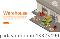Warehouse isometric 3D illustration of storehouse and logistics and delivery transport 43825490