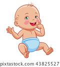 cartoon infant baby sitting smiling diaper 43825527