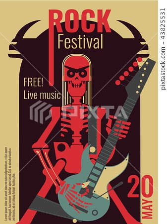 Rock music festival poster illustration template for live rock concert placard of skeleton rocker 43825531