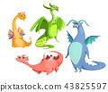 cartoon cute magic colorful dragons set 43825597