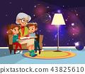 cartoon grandmother reading to girl boy 43825610