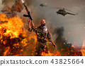 Terrorist with rifle stands in explosion and fire 43825664