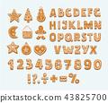 gingerbread, cookie, alphabet 43825700