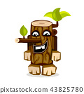 wooden log with branches and leaves  43825780