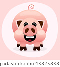 Pink cartoon pig smiling illustration  43825838