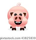 Pink cartoon pig smiling illustration  43825839