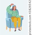 Woman with hot-water bottle on head. Headache. 43826542
