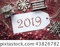 Red Nostalgic Christmas Decoration, Text 2019 43826782