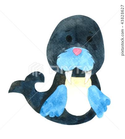 blue, fish, watercolor 43828627