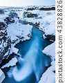 Hraunfossar waterfall in winter, Iceland. 43828826