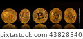 Bitcoin gold coins collection isolated on black background. 43828840