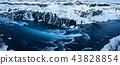 Hraunfossar waterfall in winter, Iceland. 43828854