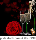 Valentines day background with champagne and roses 43828990