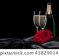 Valentines day background with champagne and roses 43829014