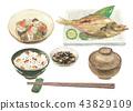 Boiled rice bowl breakfast set 43829109