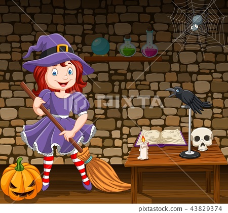 Cartoon little witch holding a broomstick 43829374