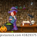 Halloween background with witch stirring magic pot 43829375