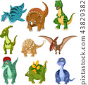 Cartoon dinosaurs collection set 43829382