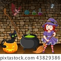 Cartoon little witch holding a broomstick in the r 43829386