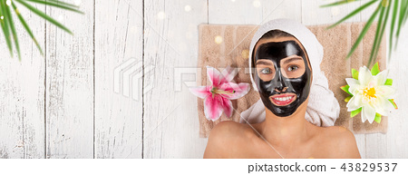 Young healthy woman with face mask. 43829537