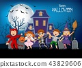 Cartoon happy kids with Halloween background 43829606