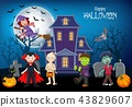 Cartoon happy kids with Halloween background 43829607