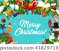 Merry Christmas wish ornament vector greeting card 43829719