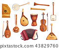 Musical folk instruments watercolor icons 43829760