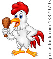Cartoon rooster holding fried chicken 43829795
