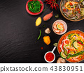Various of asian meals on rustic background , top view , place for text. 43830951