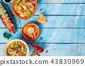 Various of asian meals on rustic background , top view , place for text. 43830969