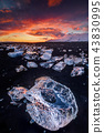 Beautiful sunset over famous Diamond beach, Iceland. 43830995