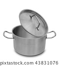 Stainless steel pot isolated. 43831076