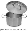 Stainless steel pot isolated. 43831077