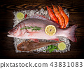 Fresh tasty seafood served on old wooden table. 43831083