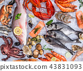 Fresh tasty seafood served on old wooden table. 43831093