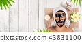 Portrait of young healthy woman with black peel face mask. 43831100